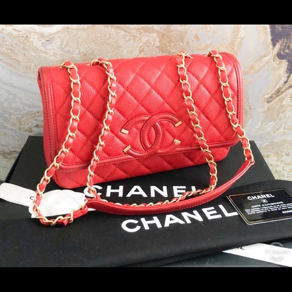 73cee5aa Chanel Caviar Quilted Medium Filigree Red Flap Bag